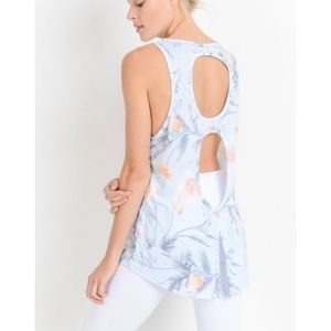 NEW Athletic Floral Open Back Tank Top Blue